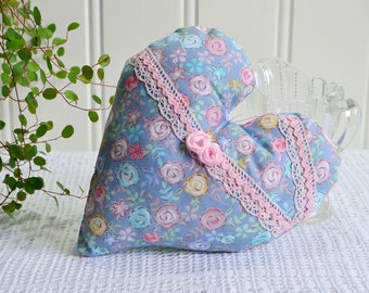 Cottage chic bedpost fabric heart , handmade Swedish  ,  blue and pink door knob hanger