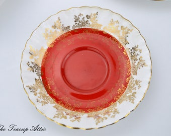 Royal Albert Red Regal Series Replacement Saucer Only, English Bone China Saucer,  ca. 1970
