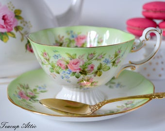 Royal Albert Moss Rose Footed Cabinet Teacup and Saucer, Vintage English Bone China Tea Cup Set, Replacement China,  ca. 1950