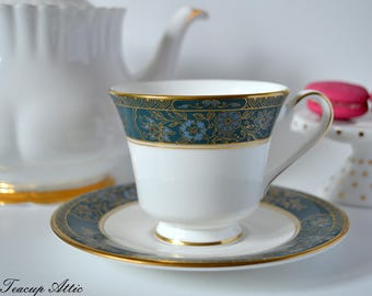 Royal Doulton Carlyle Pattern Teacup And Saucer, Vintage English Bone China Tea Cup, ca. 1973