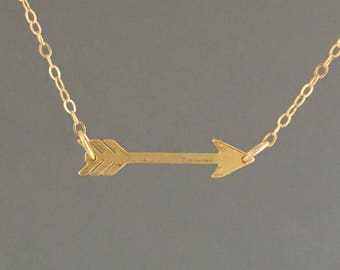MEDIUM Sideways Arrow Necklace Available in Gold or Silver