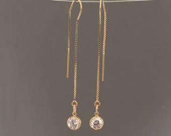 Gold Fill Swarovski Crystal Box Chain Threader Earrings