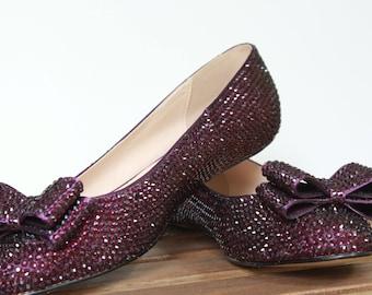 Custom Crystal Rhinestone Ballet Flats Shoes - Wedding Flat Shoes - Swarovski Crystal Rhinestone Shoes