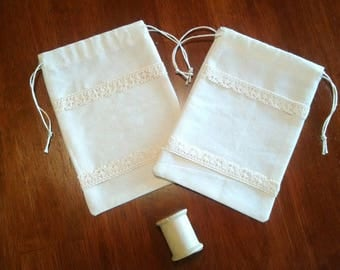 French Lace Drawstring Bags