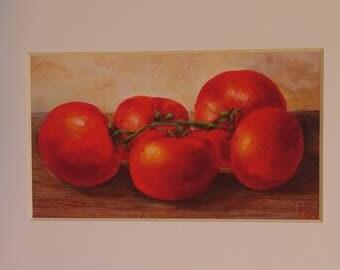 "Red, Ripe, Garden Fresh, Tomatoes, Giclee Print, 5"" X 7"""