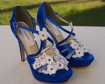 Royal Blue Wedding SHOES high heels 4'' Inches,White,Ivory, trimmed white, or ivory floral appliques and crystals,Satin Wedge Peep Toe Heels