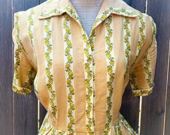 Vintage Early 1950s Marigold Yellow Cotton Day Dress / Wiggle Dress