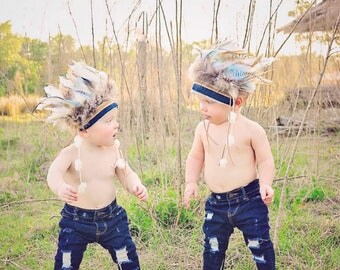 Indian Headdress, Little Chief Infant/toddler boys Headdress, Indian Party, Wild One, Indian Costume, Feather Headdress, First Birthday.