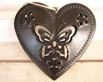 shabby chic,black tin heart, butterfly design, distressed black-double-sided hanging heart