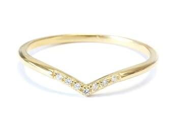 Chevron V 7 Diamond Ring / Diamond V-Ring with Pave Diamonds / Diamond Wedding Band - Gold & Diamond Ring  18K Rose Gold