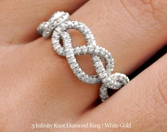 10% OFF Triple Infinity Knot Ring, 0.75 CT Diamond Wedding Band, 14K Gold Wedding Ring, Cluster Ring, Art Deco Ring, Infinity Ring