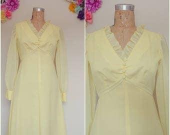 Vintage Edwardian 70's Pastel Yellow Empire Waistline Ruffled V-Neckline Maxi dress/ Chiffon Dress Sheer Long Sleeve Vintage Victorian