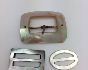 3 Antique Mother of Pearl Buckle Rectangular with Brass Fittings Smoky Grey Shell Buckle