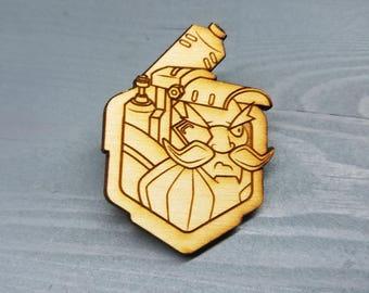 Torbjorn Overwatch Pin | Laser Cut Jewelry | Wood Accessories