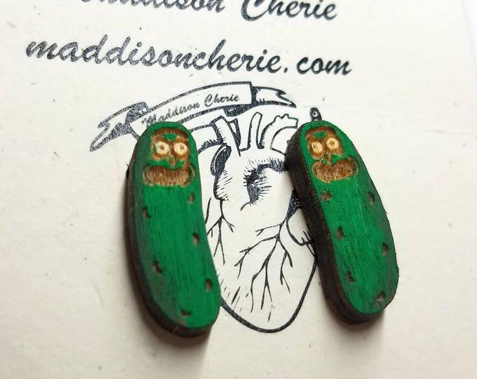 Pickle Rick Earrings | Laser Cut Jewelry | Hypoallergenic Studs