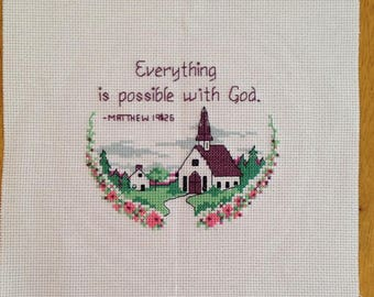 Finished Country Church Cross Stitch Everything is possible with God 8.875 x 9 inch by Sew Practical, Mom and Pop Craft