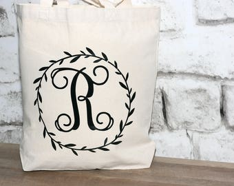 Monogrammed Tote with Wreath Design