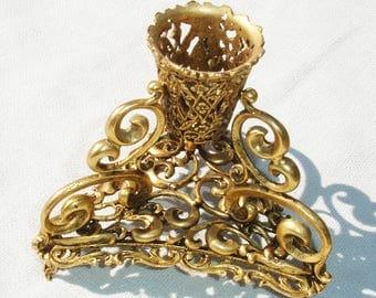 Vintage Battani Signed Brass Candle Stick Holder