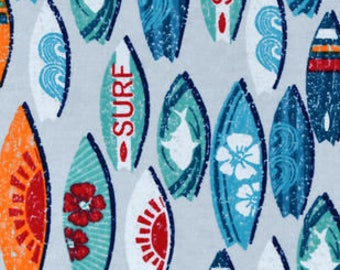 Snuggle Flannel Fabric - Surfboards - Sold by the Yard