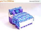 SPECIAL SALE COOL Colors Blue Purple Aqua Custom Dressed Bed Dollhouse Miniature Master Bedroom 1:12 Luxury Double Bed Ultra Violet