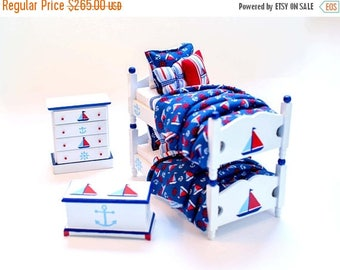 SPECIAL SALE NAUTICAL Sailboat Blue Red White Custom Dressed Bunk Bed Boy's Bedroom Set Dollhouse Miniature 1:12