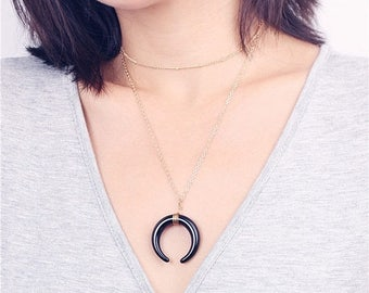 ON SALE Gold satellite choker chain & crescent moon necklace - layered necklace