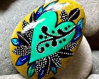 just breathe / painted stones/ painted rocks / rock art / heart rocks / boho style, boho art / hippie style / altar art / tiny art / stones