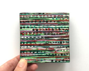 Trust the Vibes ~ Acrylic Painting Original Art on Wood Block Shelf Sitter
