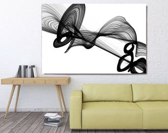 "Full of Ideas, Black and White Contemporary Abstract Canvas Art Print, Extra Large BW Contemporary Canvas Art Print up to 72"" by Irena Orlov"