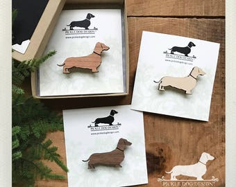 Doxie. Brooch -- (Dachshund, Long Dog, Dog Pin, Vintage-Style, Sausage Dog, Wiener Dog, Wood, Christmas Gift, Stocking Stuffer, Under 10)
