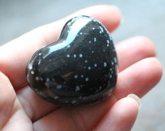 Snowflake Obsidian Heart Large Puffy #83400
