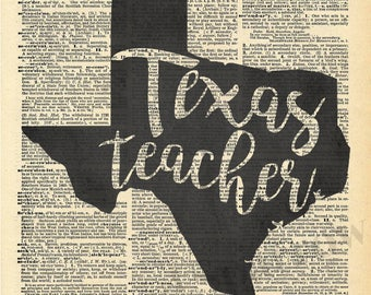 Texas Teacher - Vintage Dictionary Print