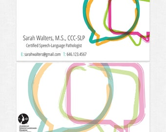 speech language pathologist business cards  - color both sides - glossy or matte - color both sides - FREE UPS ground