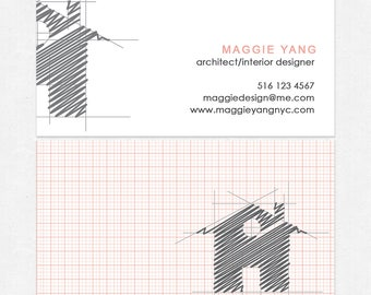 architect interior designer business cards - thick - color both sides - FREE UPS ground shipping
