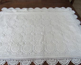 Crochet Pillow Cases, White, Vintage, Set of Two