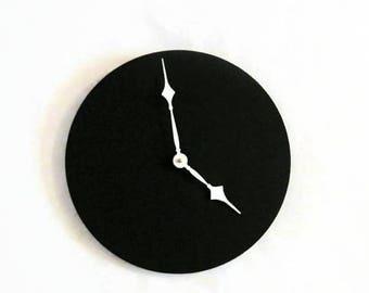 Wall Clock, Black Home Decor, Black and White Modern Art, Quartz Clock Mechanism, Home and Living, Home Decor, Clocks