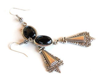 Gothic Earrings Silver and Black Onyx Earrings Ethnic Style Earrings Ethnic Jewelry Gothic Jewelry