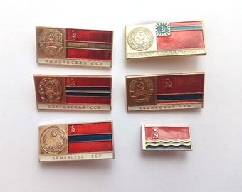 Soviet republic flags enamel pins, Vintage Soviet Union memorabilia 1960s 1970s, metal badges propaganda red flag USSR