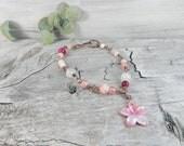 Pink Flower Bracelet. Copper Wire Bracelet. Pink Gemstone Jewelry. Sakura Charm. Cherry Blossom Jewelry. Gift for Her. Spring Jewelry.