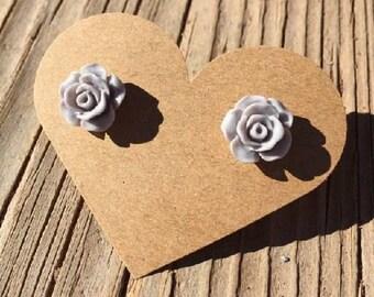Grey Rose Bud Stud Earrings - Rose Bud Earrings - Rosebud Earrings - Resin Flower Roses Earrings - Luxie Creations