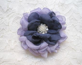 Lavender and Steel Blue Chiffon Hair Clip Bridal Bride Bridesmaid Mother of the Bride with Rhinestone Accent Hair Accessories Bridal