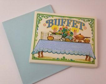 vintage nos unused folksy buffet dinner invitation set of 8 with envelopes