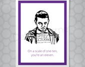 Stranger Things Eleven love Funny Illustrated Card
