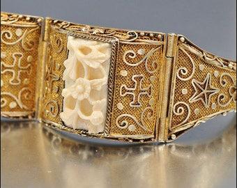 Chinese Bracelet, Vermeil, Silver 800, Art Deco Renaissance Vintage Jewelry, SUMMER SALE