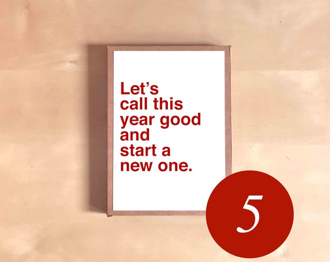 Funny Holiday Card Set - Funny Christmas Cards - Boxed Holiday Cards - Funny Holiday Gift - Let's call this year good and start a new one.