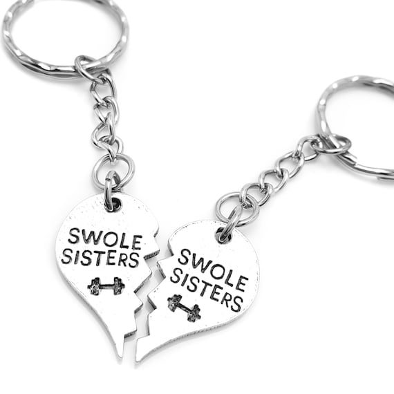 Gym Buddy Swole Sisters Keychain Set - Friendship Key Chain - Swoll Sisters - Swole Mates - Gym Accessories for Workout Buddies