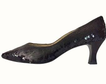 Vintage Sequin Shoe Black Pump Evening Shoe 80s Party 80s Shoe Women Shoe Size 9 Sparkle Heel Sparkle Shoe Sexy Women Dress Shoe 1980s