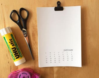 2018 Blank Calendar 5x7 Sunday-Saturday - Monthly Calendar -Art Journal Calendar -Printable DIY Calendar - Office Calendar - Black and White