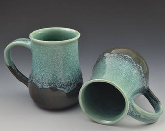 Handmade Coffee Mugs // Pottery Mugs // Aqua and Blue Coffee Mugs // Aslakson Pottery // Large Mug // Fits Keurig