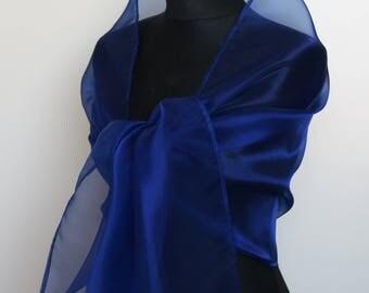 Organza wrap shawl bolero wedding shrug spring summer bridesmaids bridal wrap Navy Blue Sky blue Royal blue